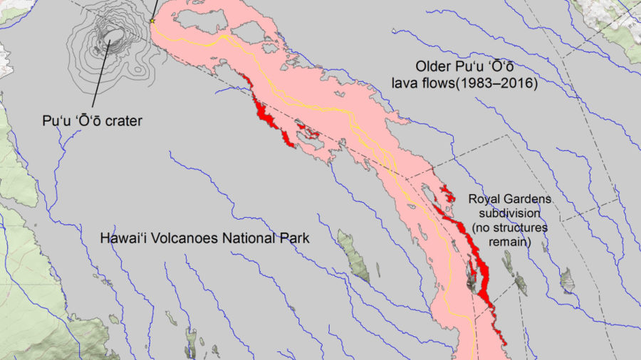 New Hawaii Lava Flow Maps Rendered