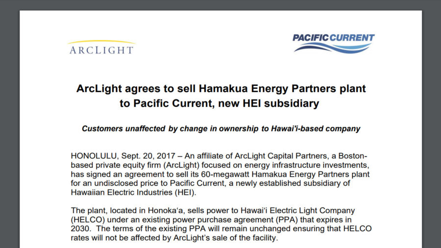 PUC Questions HEI Hamakua Energy Purchase, New Subsidiary