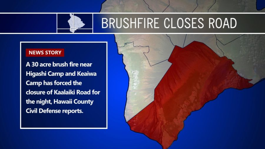 Brushfire Closes Kaalaiki Road In Ka'u