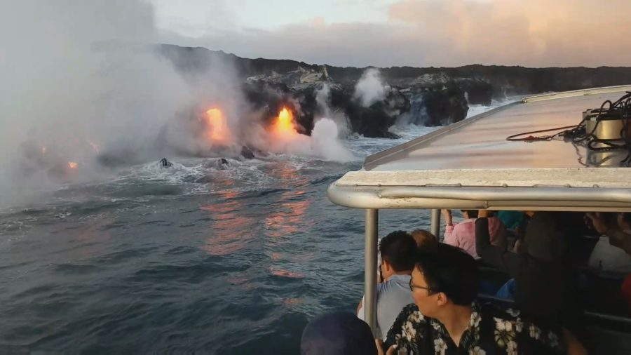 VIDEO: Lava Falls Continue At Kamokuna Ocean Entry