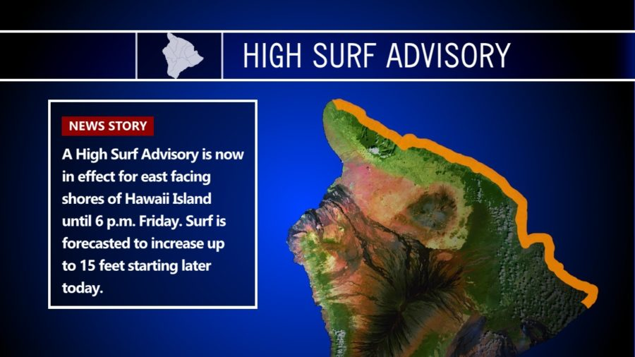 High Surf Advisory For Hawaii's East Shores