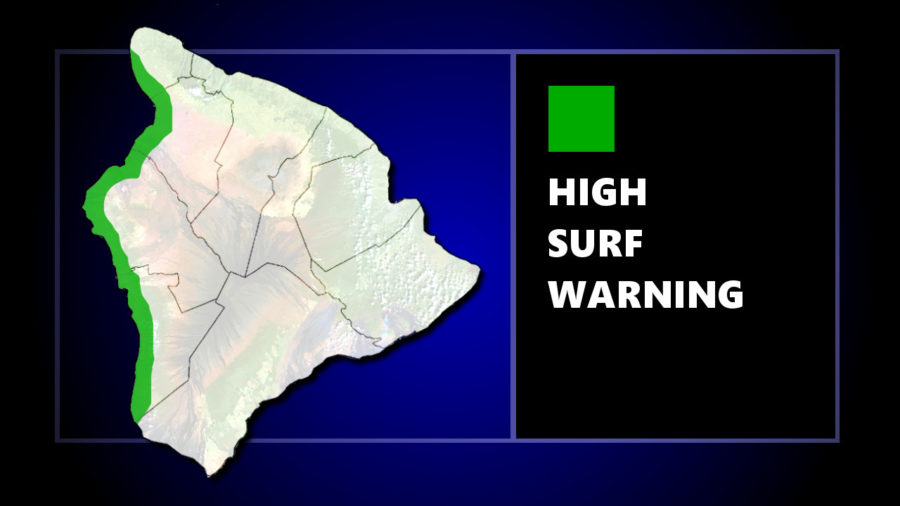 High Surf Warning For West Hawaii Shores On Saturday
