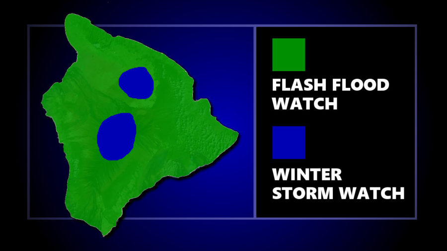 Hawaii Island Under Flash Flood, Winter Storm Watch