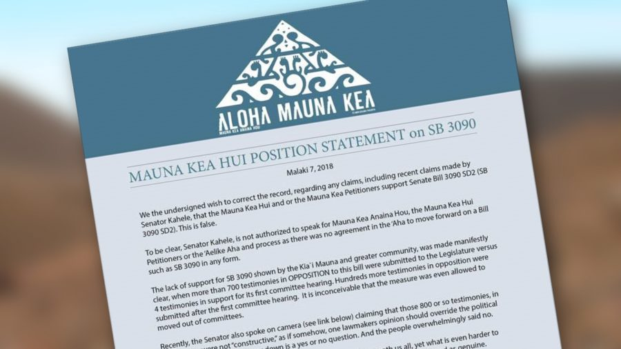 Mauna Kea Hui Calls Out Senator On SB 3090
