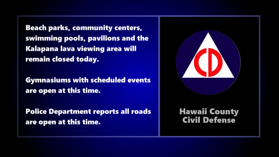 Weather Closure Update From Hawaii County Civil Defense