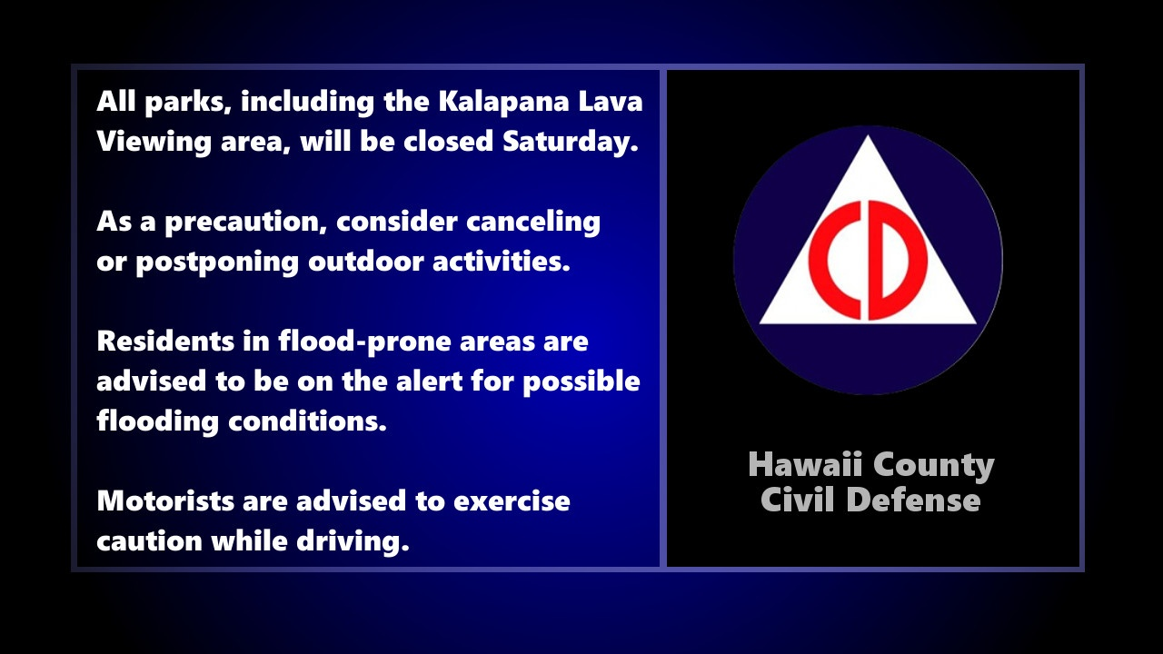 County Parks Closed Saturday As Storms Threaten Hawaii