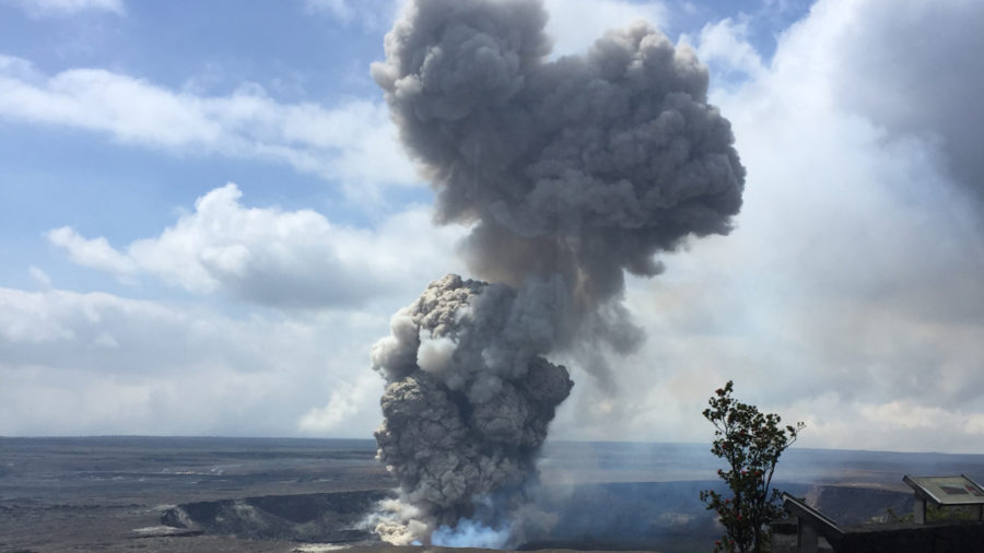 VIDEO: Rockfall Triggers Explosion At Kilauea Volcano