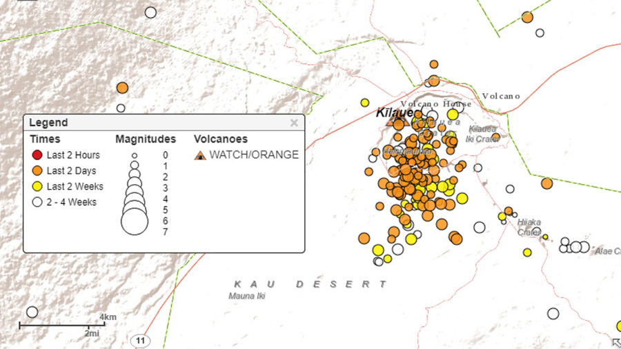 Moderate Earthquake Swarm Detected Below Kilauea Volcano Summit
