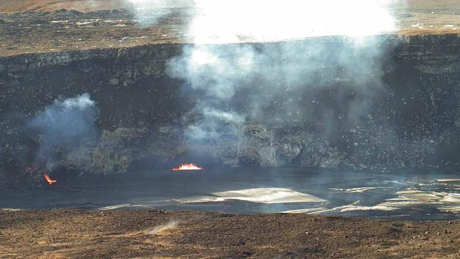 Volcano Lava Lake Overflows At The Summit