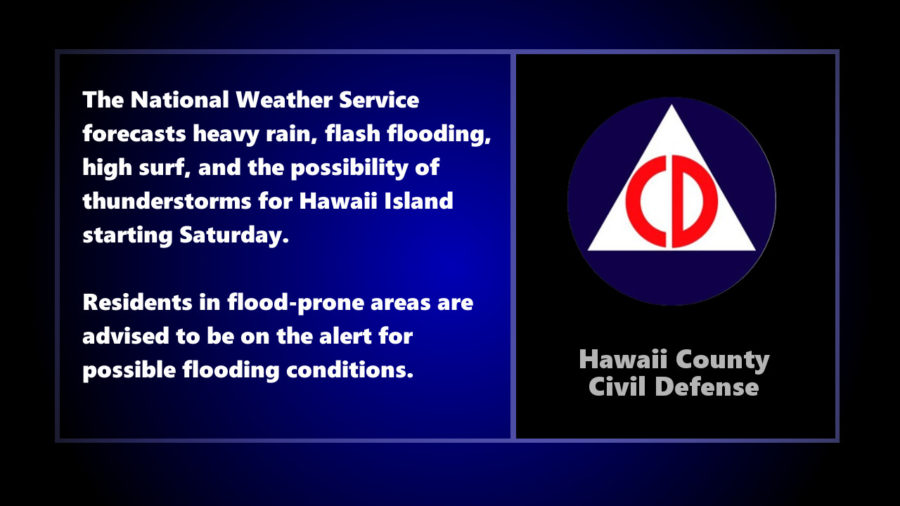 Civil Defense Hazardous Weather Message For Weekend