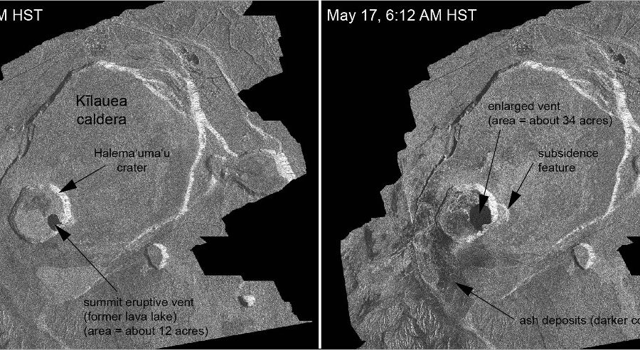 Satellite Images Show Changes To Kilauea Caldera Floor