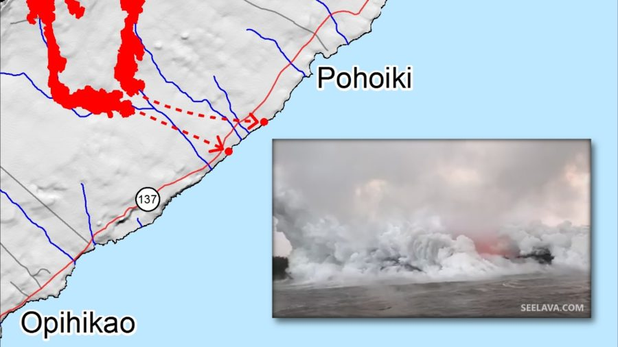 VIDEO: Noon Eruption Update – Two Lava Ocean Entries, High SO2