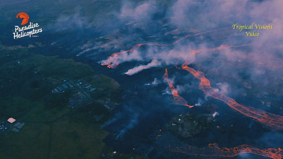 VIDEO: 1 pm Eruption Update – Helicopter View Over Lava Flows