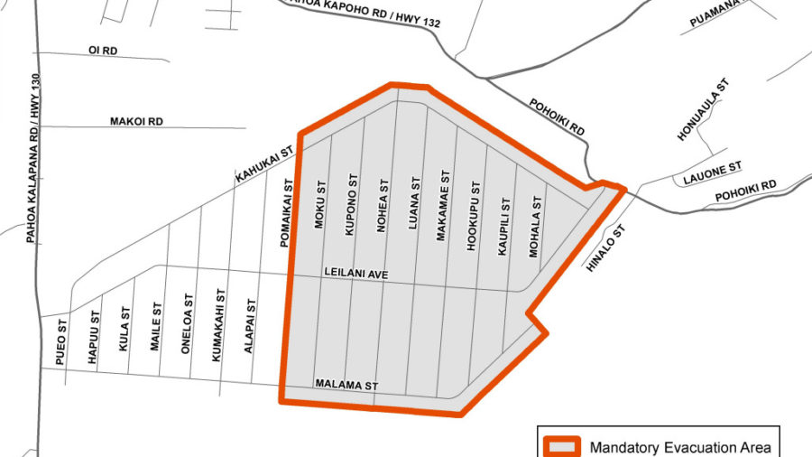 Mandatory Evacuation Order Signed For Leilani Estates, East Of Pomaikai