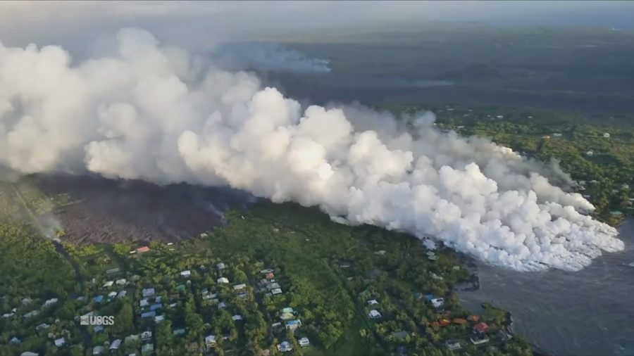 Eruption Digest For June 4: Lava Enters Kapoho Bay, Fissure 8 Pumping