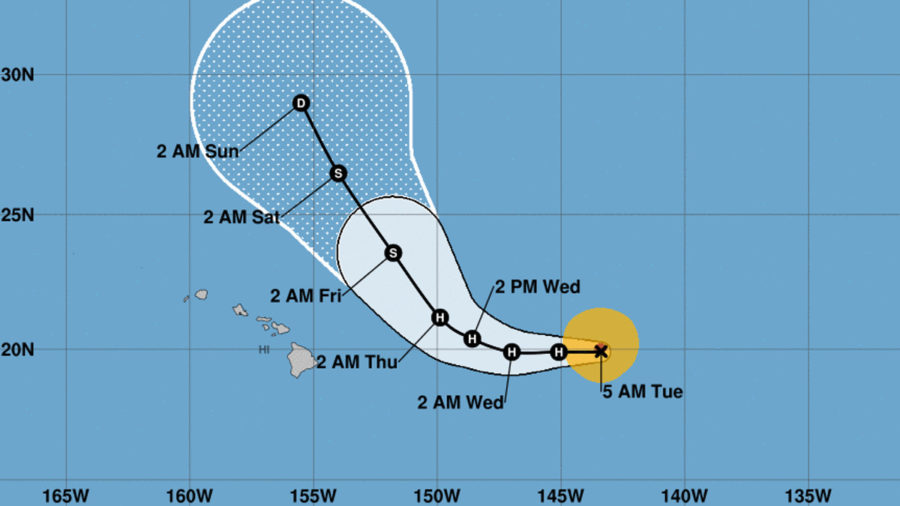 Hurricane Norman Heading West, 760 Miles East Of Hilo