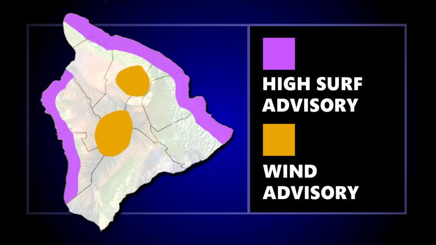 High Surf, Summit Wind Advisory For Hawaii Island