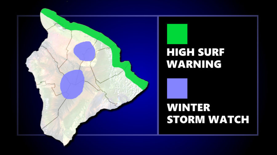 Winter Storm Watch, High Surf Warning In Effect