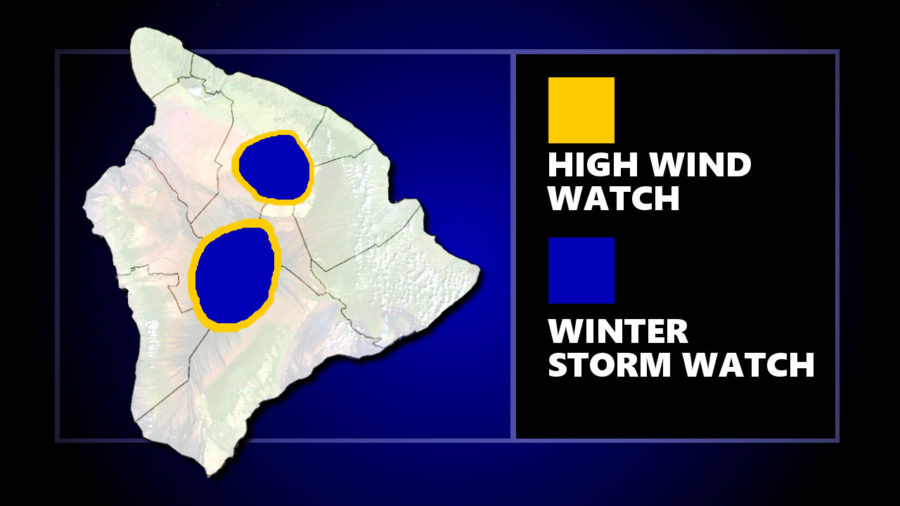 High Wind, Winter Storm Watch For Hawaii Summits