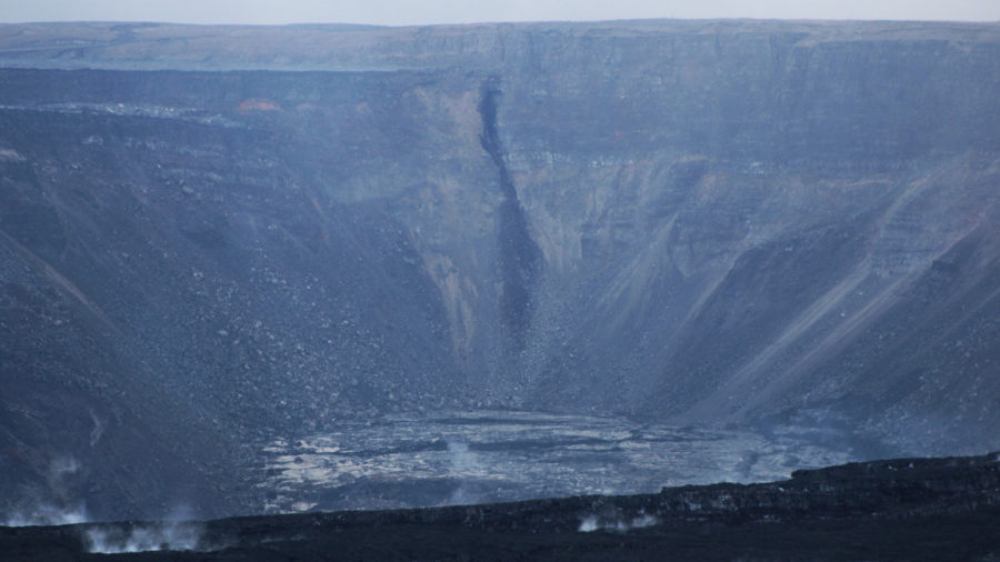 Black Streak Resembling Large Crack Appears In Kilauea Caldera