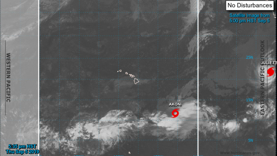 Tropical Storm Akoni Forms Southeast Of Hawaii