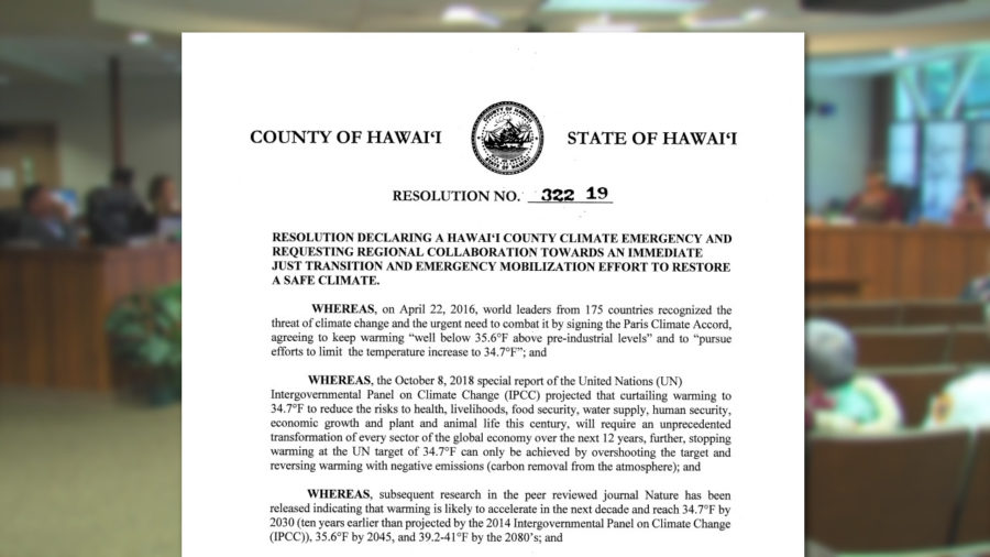 "Hawaii County Resolution To ""Restore A Safe Climate"" Advances"