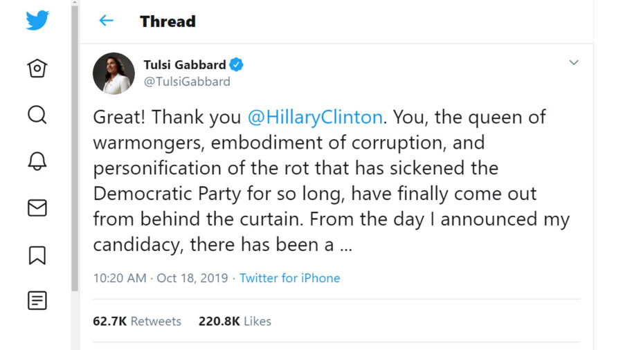 "Gabbard Lashes Out At Hillary Clinton After ""Russian Grooming"" Comment"