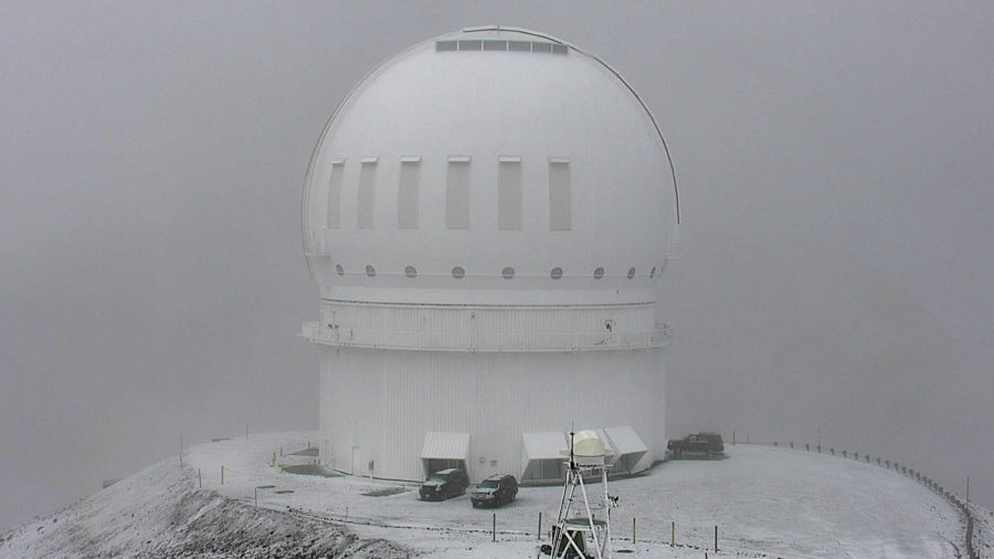 Snow Falling On Mauna Kea Summit Tuesday Afternoon