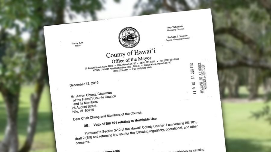 Mayor Kim Vetoes County Herbicide Bill 101