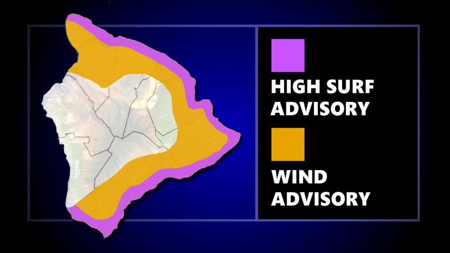 Wind And High Surf Advisories For Hawaii Island