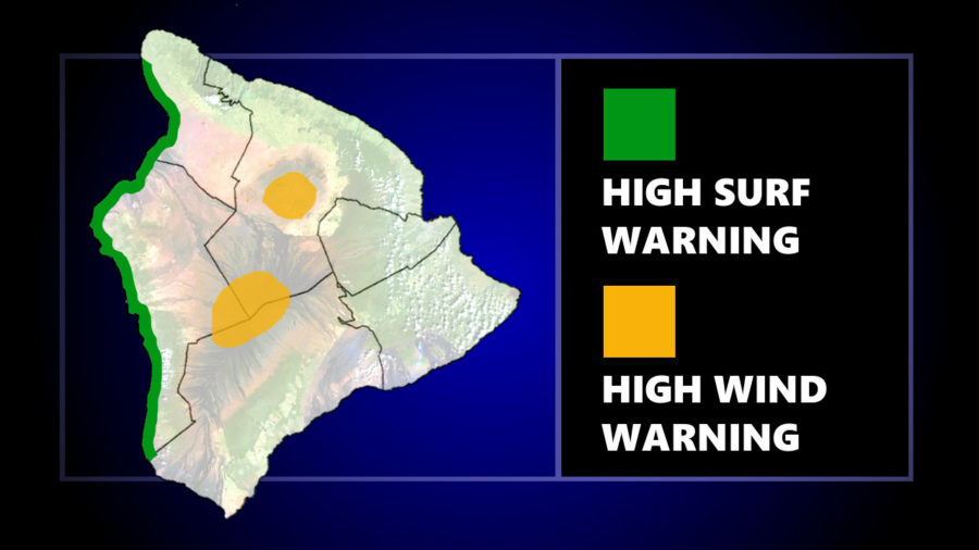 Surf Warning For Kona, Wind Warning For Summits