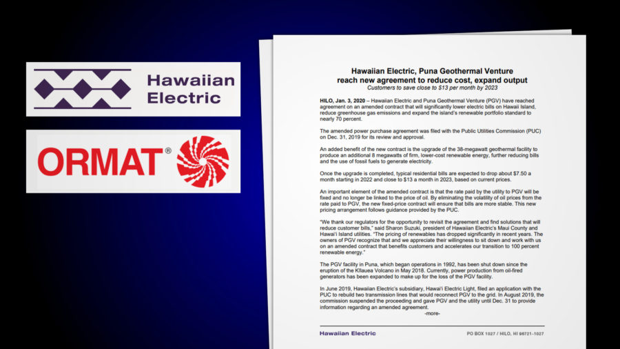 Puna Geothermal, Hawaiian Electric Reach New Power Purchase Agreement