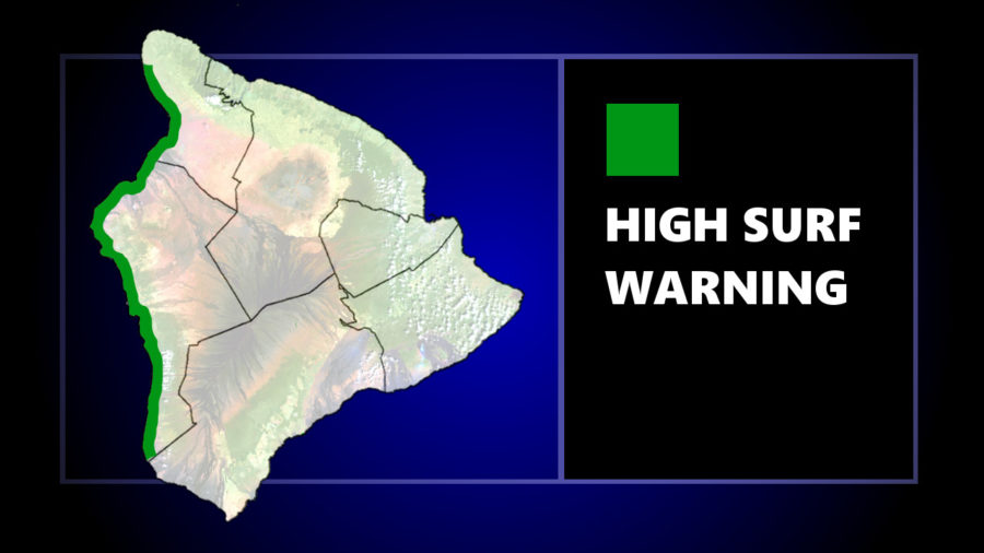 High Surf Warning Issued For Kona Shores