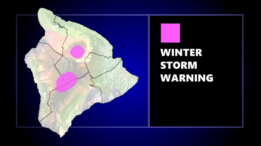 Winter Storm Warning For Mauna Kea, Mauna Loa