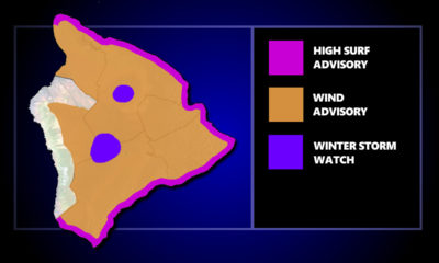 Big Island Advisories Posted For Wind, High Surf, and Winter Storm