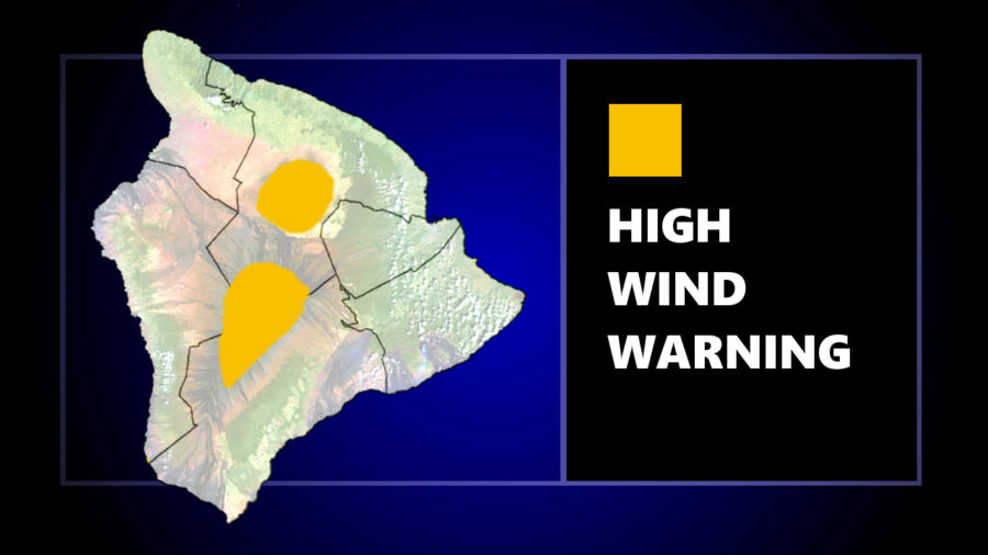 High Wind Warning For Hawaii Summits, 80 mph Gusts Possible