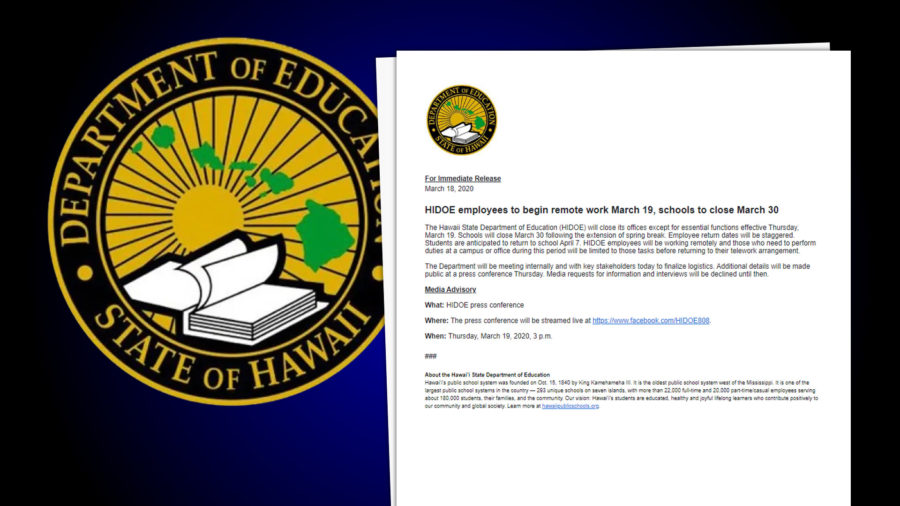 Hawaiʻi Schools To Close March 30, DOE Employees To Work Remotely