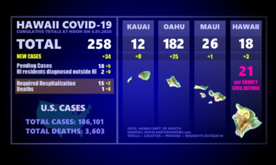 Hawaii COVID-19 Update For April 1, 34 New Cases Reported