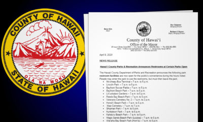 Hawaii County Lists Park Restrooms Open During COVID-19 Pandemic