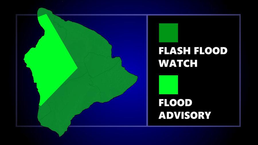 Kona Flood Advisory Posted, As Flash Flood Watch Continues