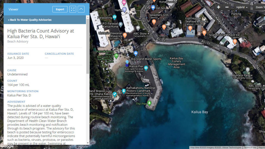 High Bacteria Count Advisory Issued For Kailua Pier