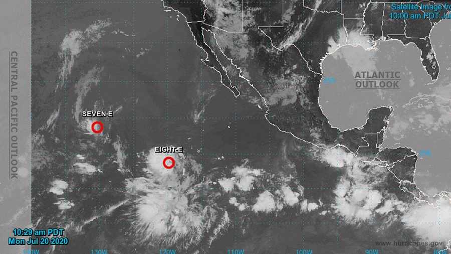 Two Tropical Depressions Form Over Eastern Pacific, Heading West
