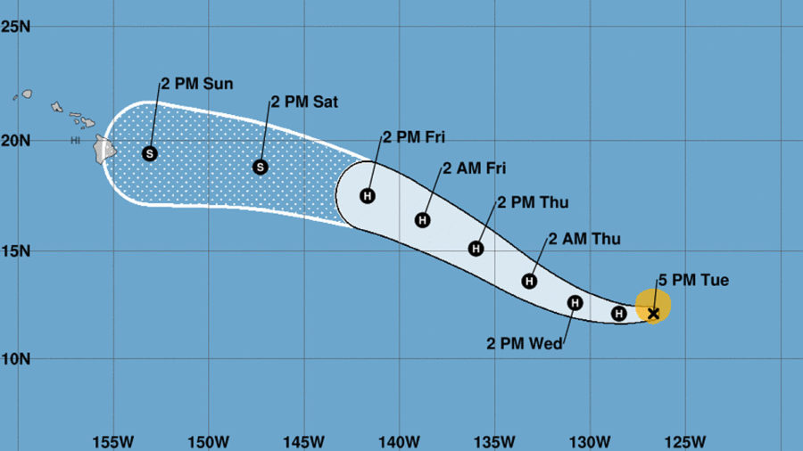 Tropical Storm Douglas Forecast Tracks Towards Hawaii