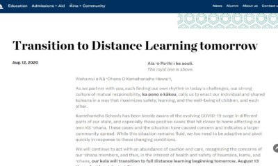 Kamehameha Schools Goes To Full Distance Learning After COVID-19 Case Reported In Student