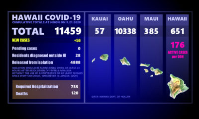 Hawaii COVID-19 Monday Update At Noon: 56 New Cases, 2 Big Island Deaths