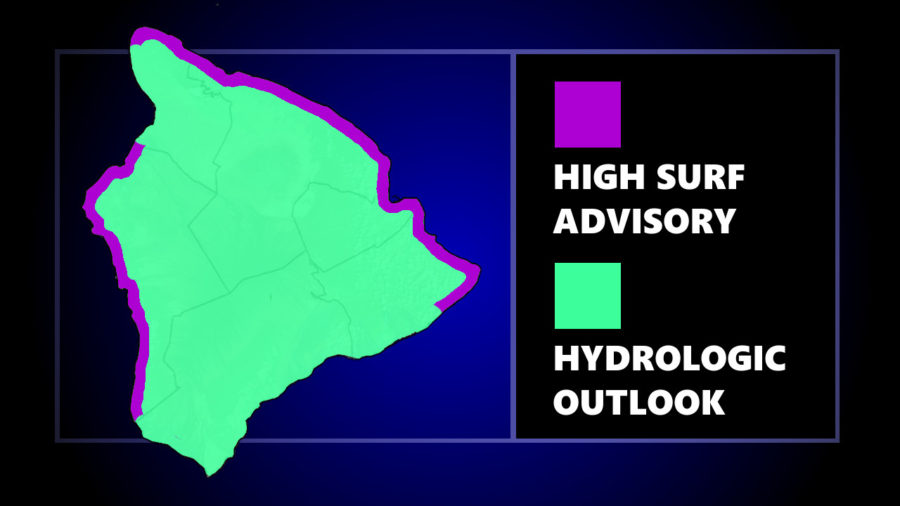 High Surf, Wind, Heavy Rain Possible For Hawaiʻi Island