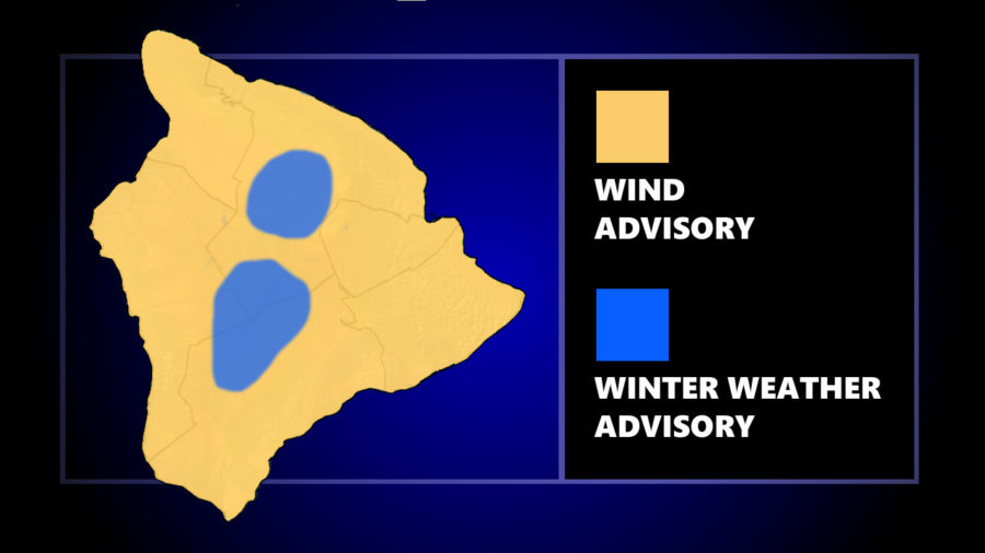 Wind, Winter Weather Advisories Posted For Hawaiʻi Island