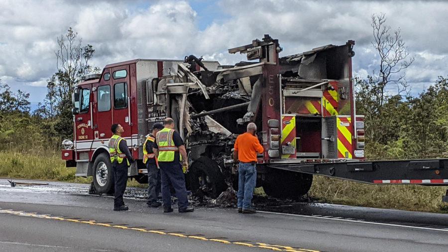 Pōhakuloa Fire Engine Catches Fire On Highway