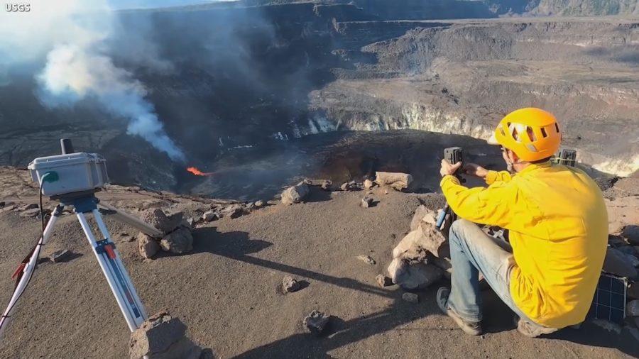 VIDEO: On Edge Of Volcano Caldera, Scientists Monitor Kilauea Eruption